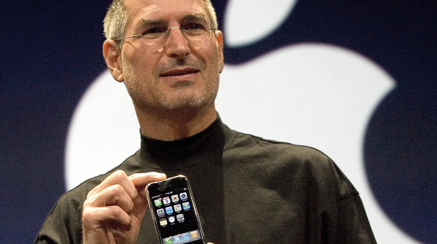 Steve Jobs with the first iPhone ever seen in public. There are rather more of them today.