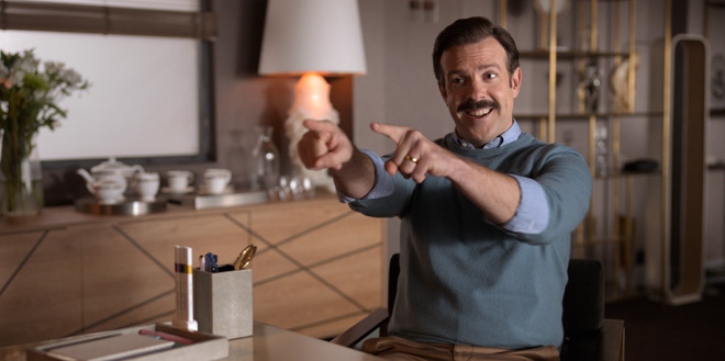Jason Sudeikis as coach Ted Lasso on