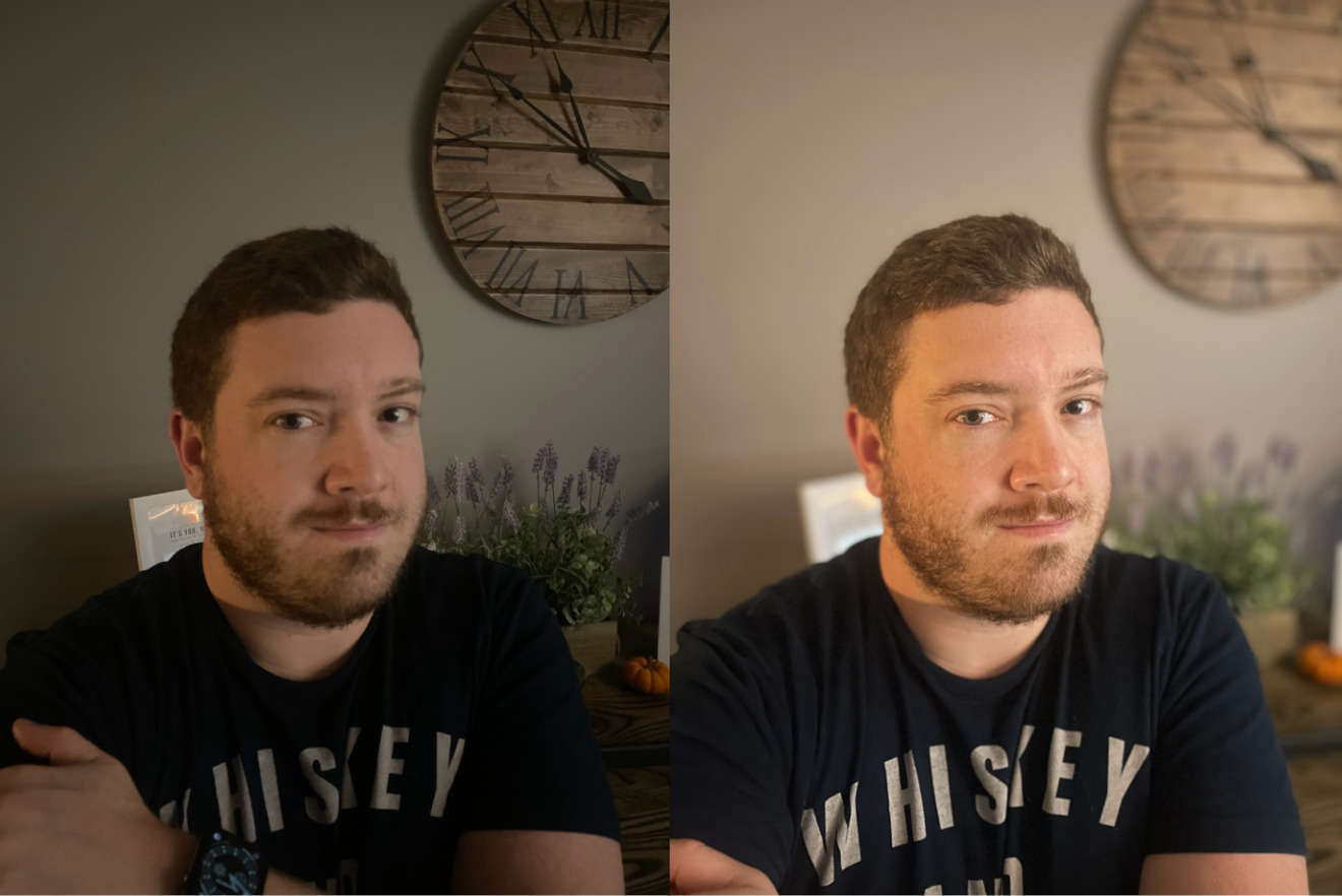 iPhone 12 Pro portrait in low light (left) and night mode portrait in low light (right)