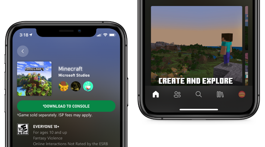 The Xbox app design aligns with iOS design language