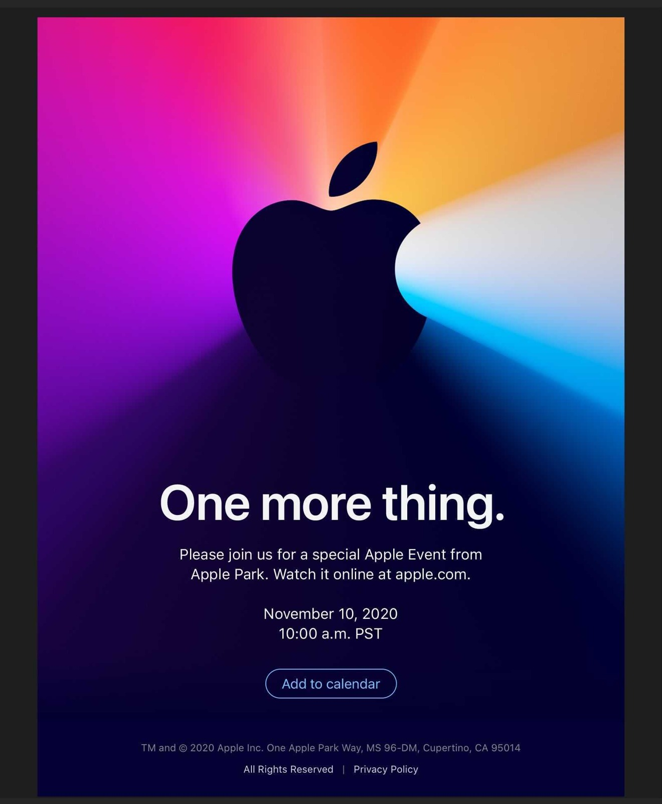 Apple Announces Apple Silicon Mac Special Event for November 10