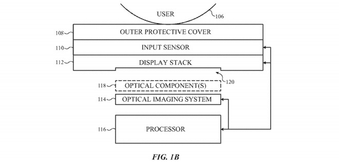 The display stack would sit above the imaging system