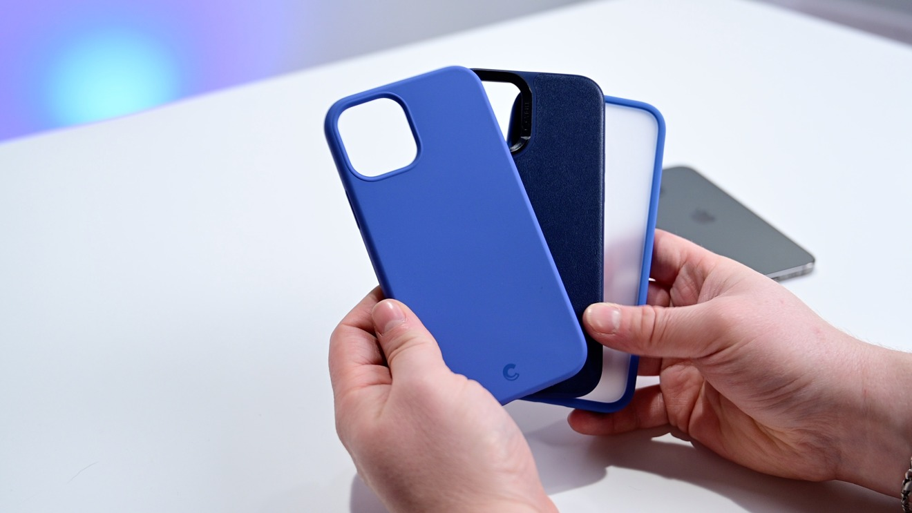 Cyrill Silicone Linen blue, Leather Brick Navy, and Brick Linen Blue cases.