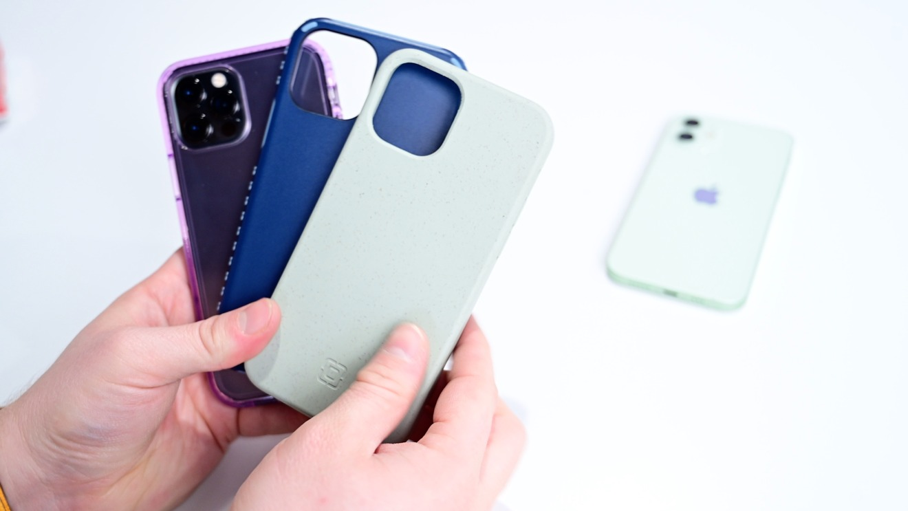 Incipio Slim, Grip, and Organicore cases for iPhone 12 (from left to right)