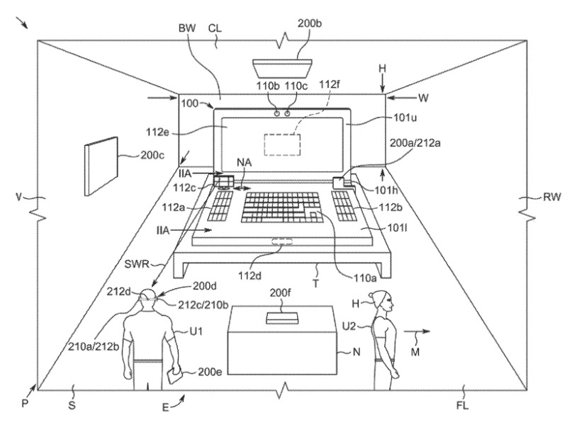 Detail from the patent showing a MacBook Pro sensing its environment. Possibly not to scale.