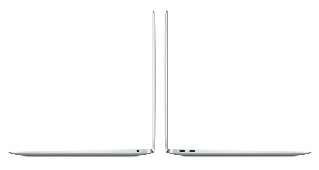A headphone jack and two Thunderbolt ports appear on both versions of the MacBook Air.