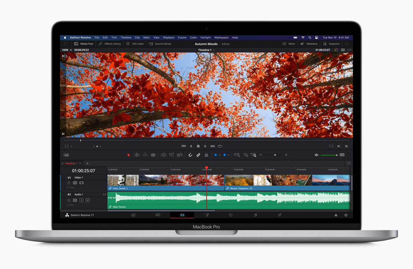 The M1 in the new 13-inch MacBook Pro can play back full-quality 8K ProRes video in DaVinci Resolve flawlessly.