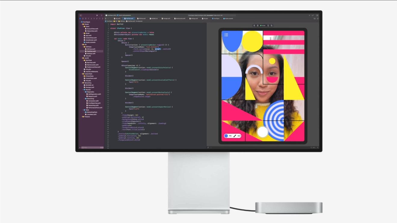 The new Mac mini driving a Pro Display XDR