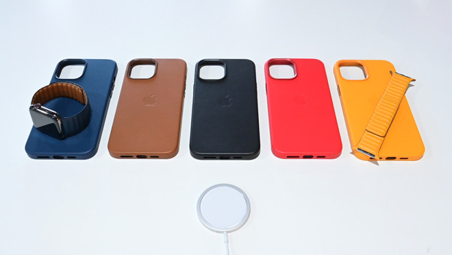 Apple's leather cases for iPhone 12 Pro Max with MagSafe charger and Apple's leather link bands