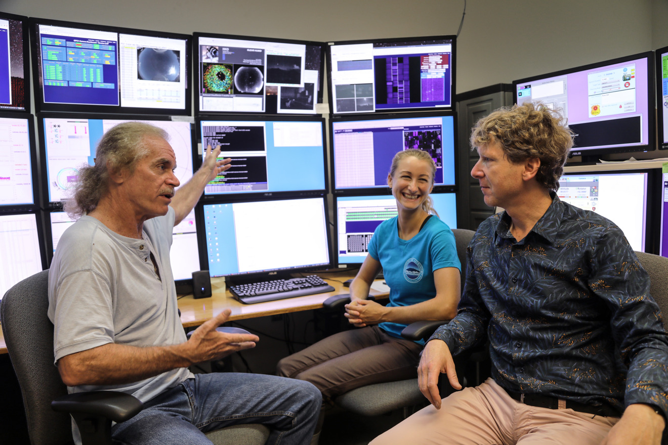 Clive Oppenheimer with Mark Willman and Joanna Bulger at the Pan-STARRS Observatory, Haleakal, Hawaii in