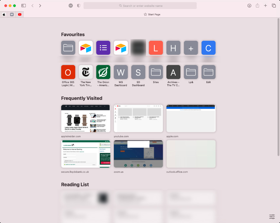 Safari's Start Page can have a plain background and just a few Favorite sites listed