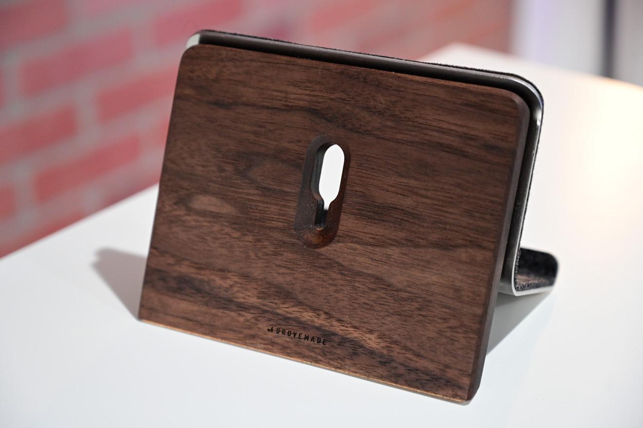 Grovemade's iPad stand in walnut