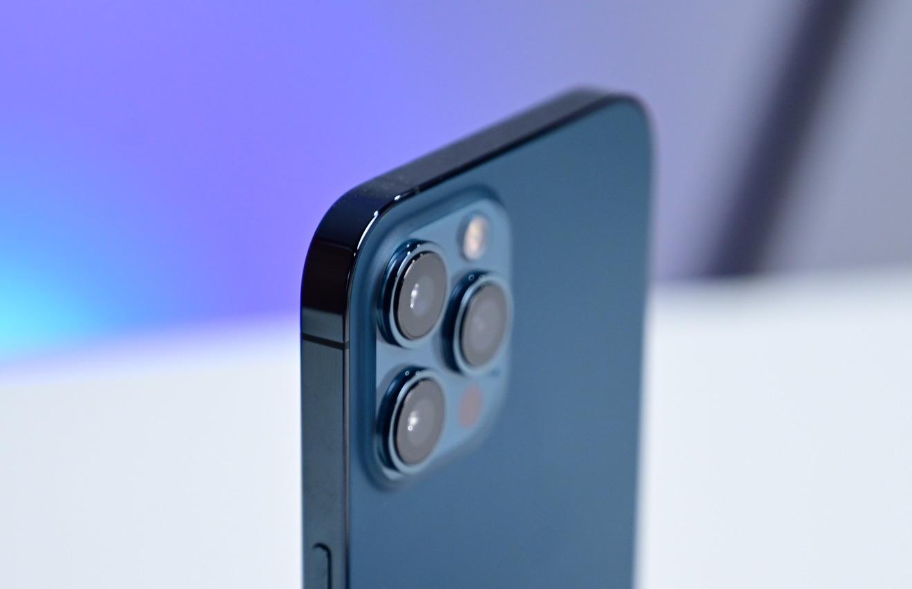 A closeup of the iPhone 12 Pro Max camera