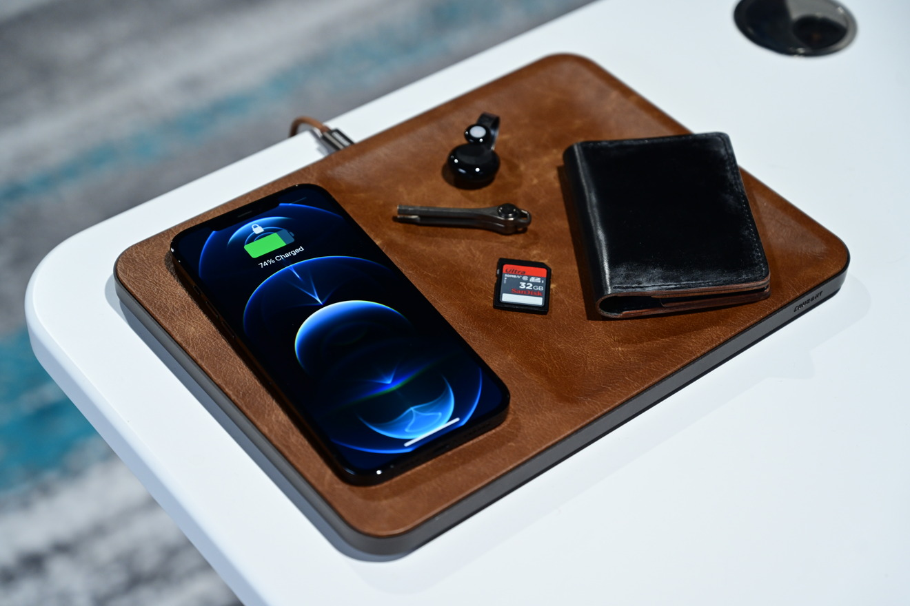 Wireless charging iPhone 12 Pro Max on the Courant Vallet