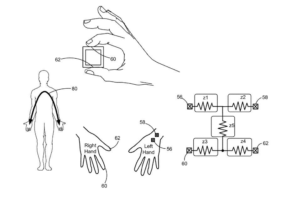 Деталь из патента, показывающая расположение датчиков