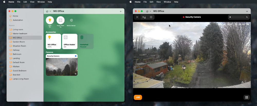 Open the Home app, select the room the camera is assigned to, then click on the security camera's thumbnail.