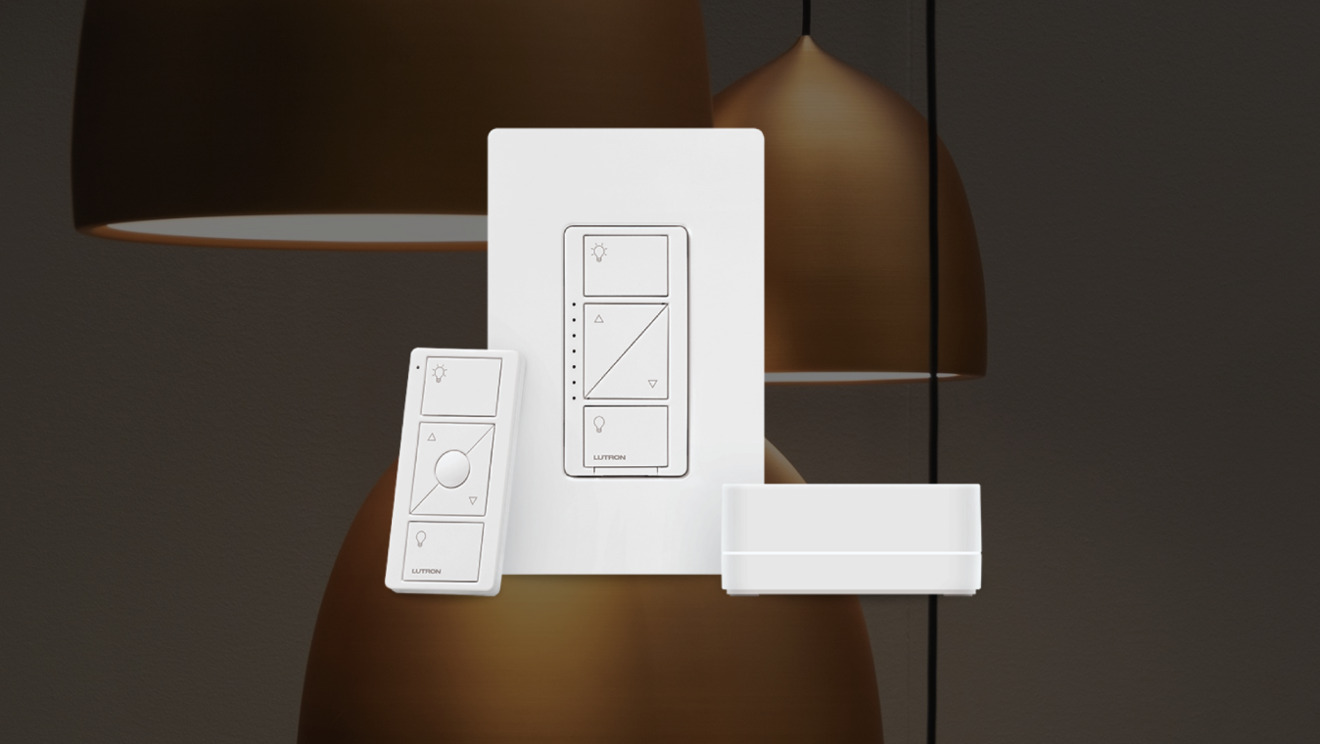 Lutron Dimmer switch, in-wall switch, and Caseta hub