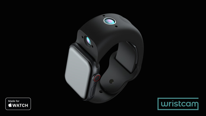 The Wristcam has two cameras, as well as a button for triggering photos and video.