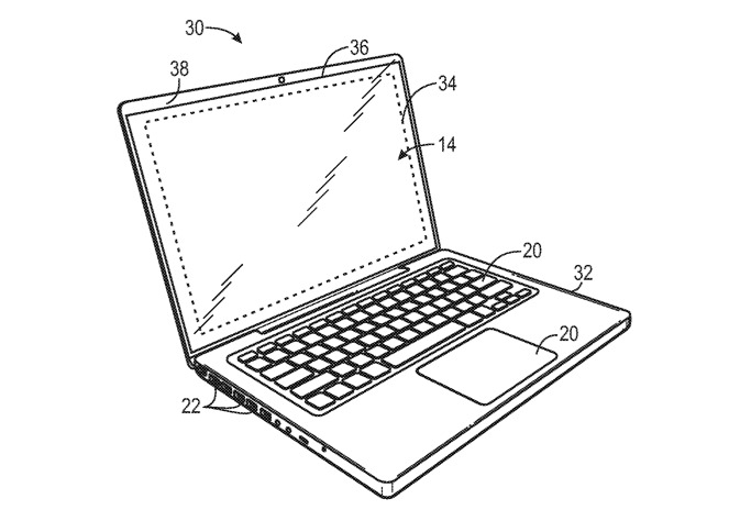 Деталь из патента, показывающая области лицевой панели, которые могут быть замаскированы предлагаемой системой