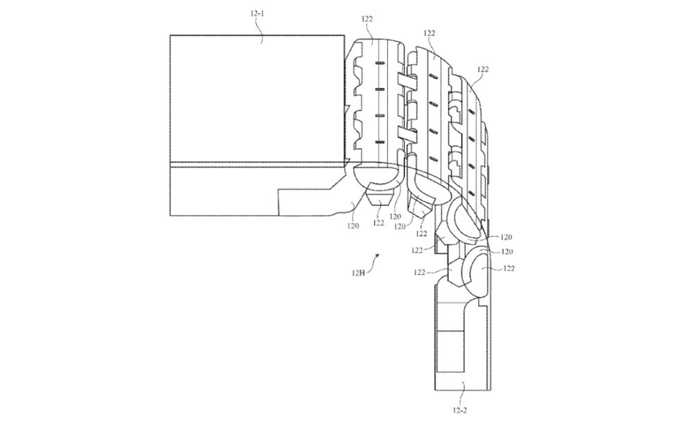 The multi-link hinge structure described in the patent. Credit: Apple