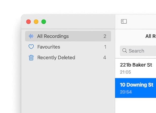 Some of the Smart Folders in Voice Memos for macOS Big Sur