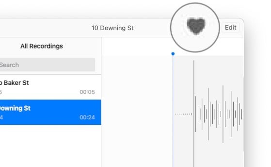 Click the heart symbol to list a recording as a favorite.