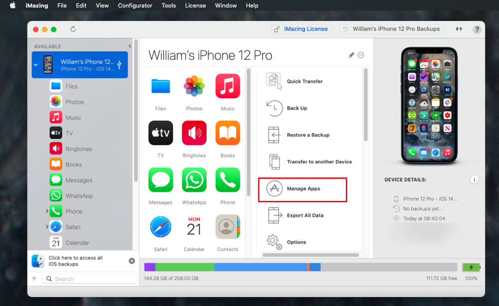 In iMazing, connect your iOS device and choose Manage Apps