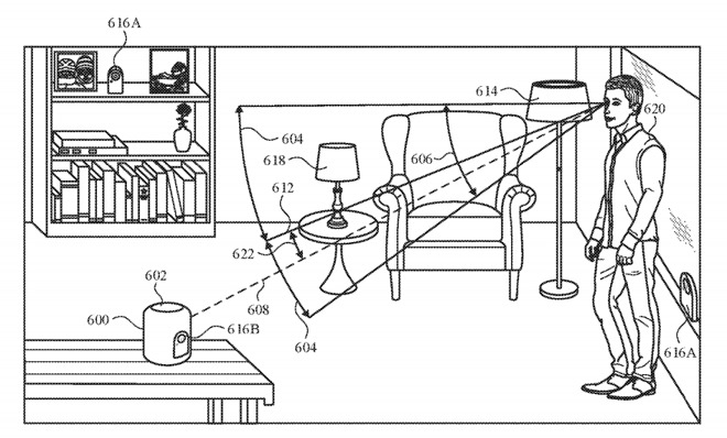 A digital assistant for a HomePod could potentially only interpret a command if the user is looking at it, the patent suggests.