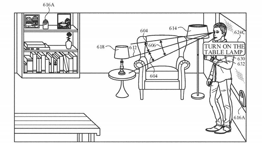 Nearby devices could detect the user's gaze of other controllable objects in a room.
