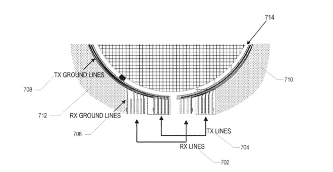 Detail from the patent showing how signals could be sent to and from an in-screen antenna