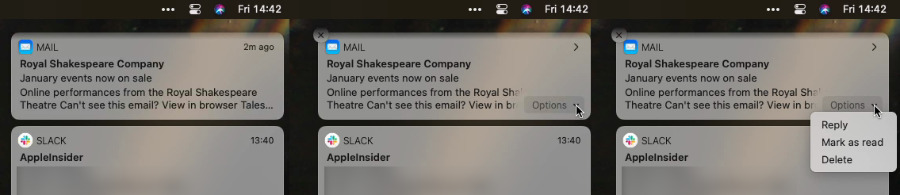 L-R: a notification, then notification with options dropdown, lastly a typical list of these options