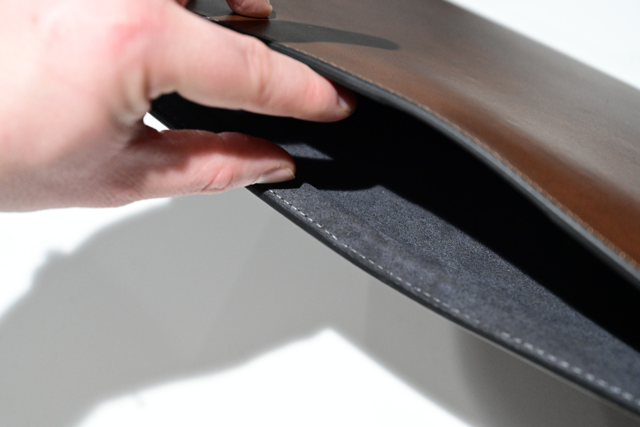 Interior of the Nomad's Horween leather sleeve for MacBook Pro