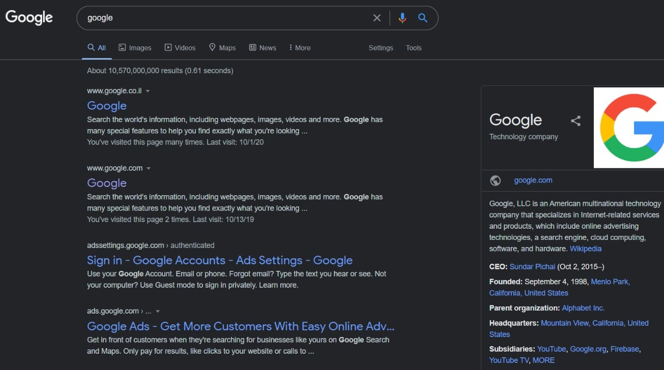 Google's search Dark Mode test in Chrome on Windows [Reddit u/Pixel3aXL]