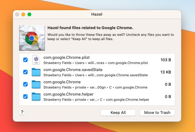 Utilities like Hazel will remove some Chrome files, but even these won't get everything.