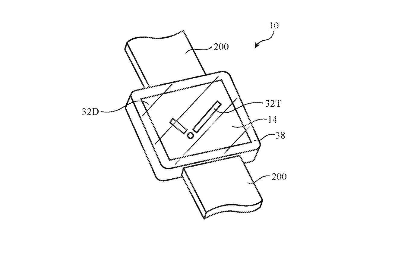 Detail from the patent showing how a Watch face can be displayed