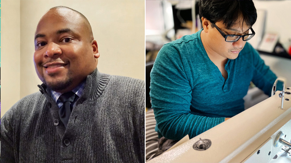 Apple employees Anthony Garrett-Leverett (L) and Joe Cayao, who collaborated to supply 14,000 masks to the Detroit area