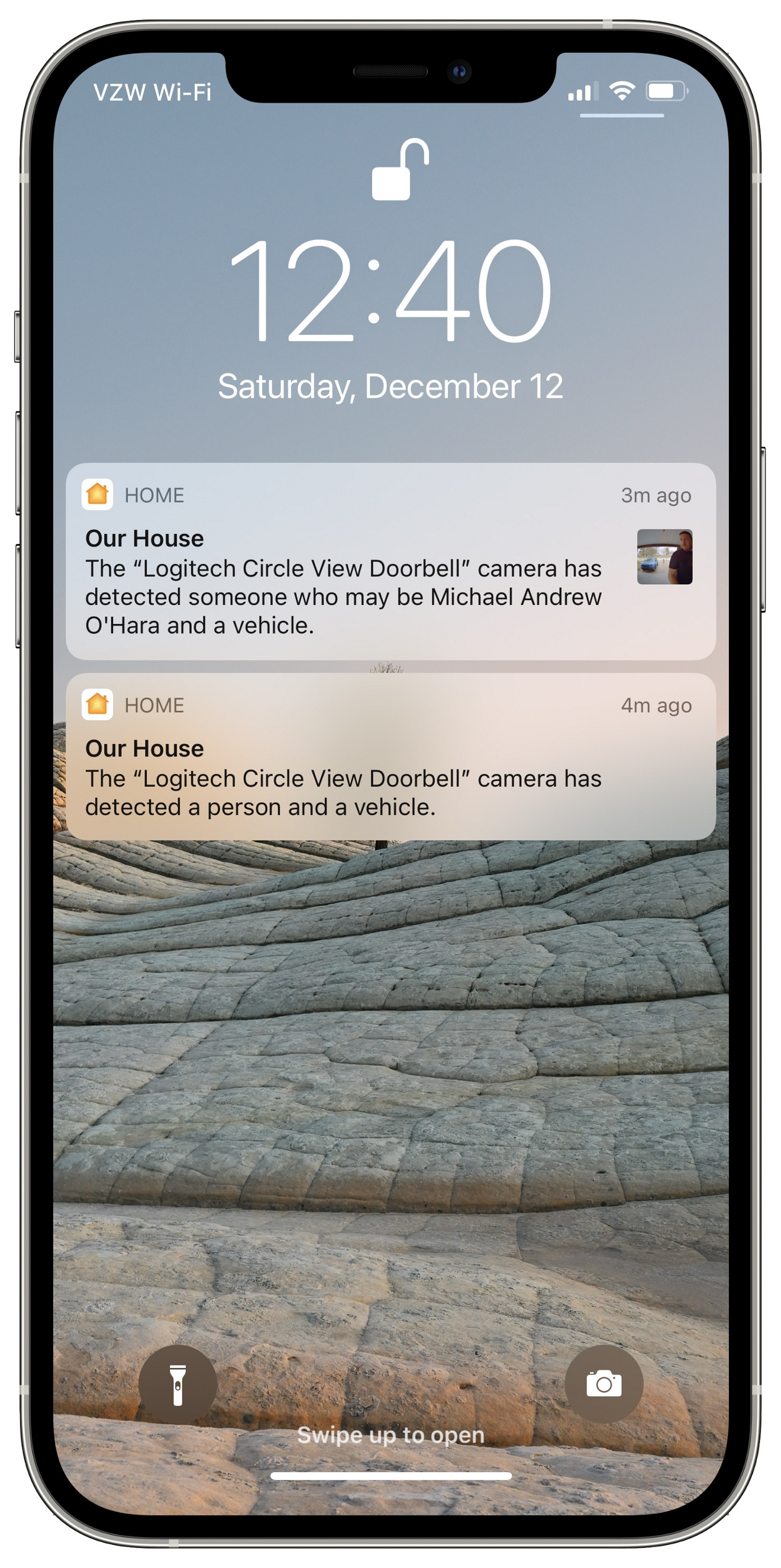 Alerts from a HomeKit Secure Video doorbell
