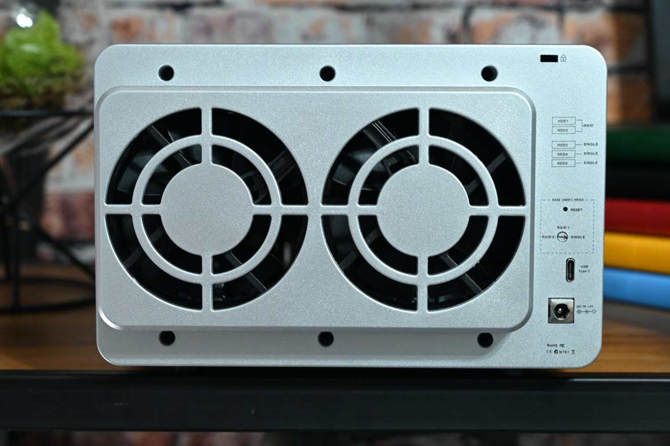 A pair of fans help cool the TerraMaster D5-300C down.