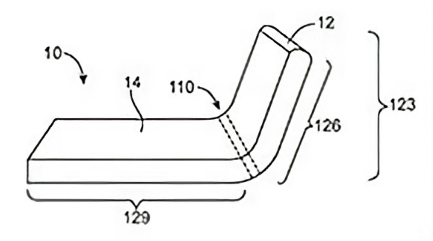 An Apple patent drawing demonstrating a folding display