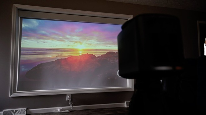 A compact projector in use.