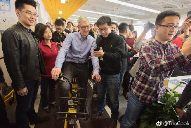 Tim Cook on a tour of China in 2017