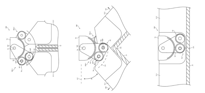 Three separate extracts from the patent drawings show (L-R) a geared hinge moving from folded to unfolded