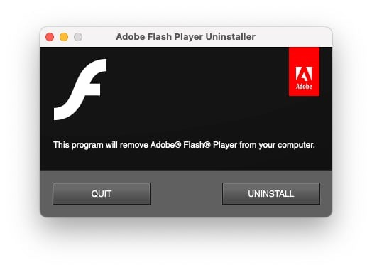 The Adobe Flash Player Uninstaller running in macOS.