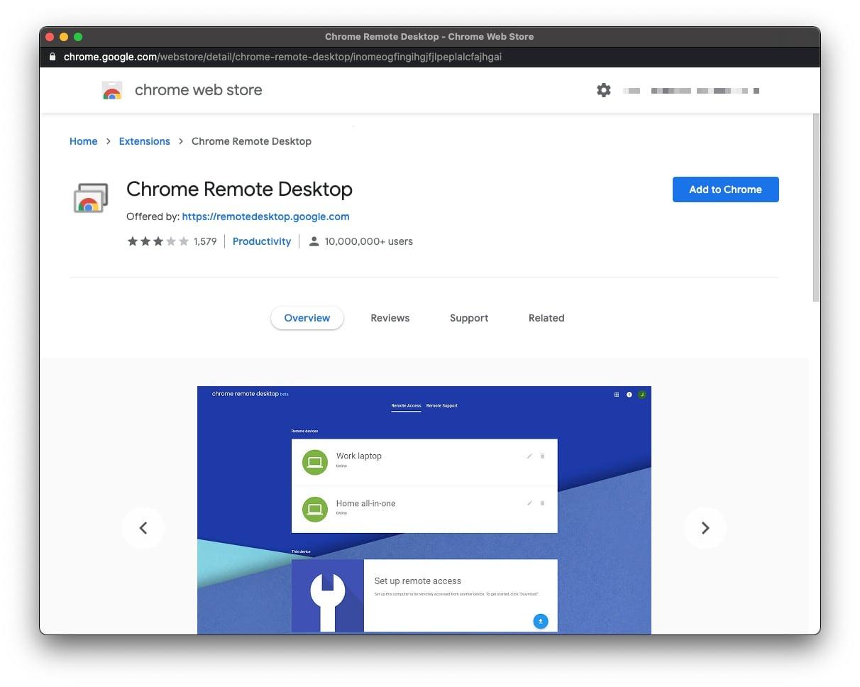 Для работы Удаленного рабочего стола Chrome используется расширение браузера Chrome.