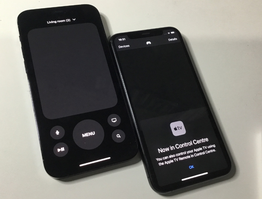 Left: Remote in Control Center. Right: the old Remote app