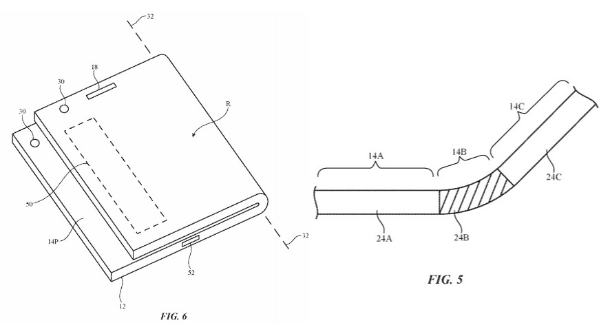 Patent drawings show a folded device with external display notifications, and a folding display