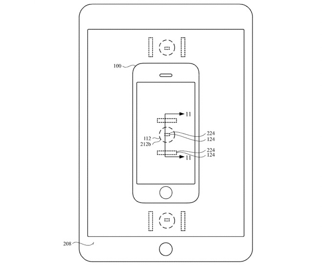 The patent suggests an iPhone could be charged by being placed on an iPad's screen.