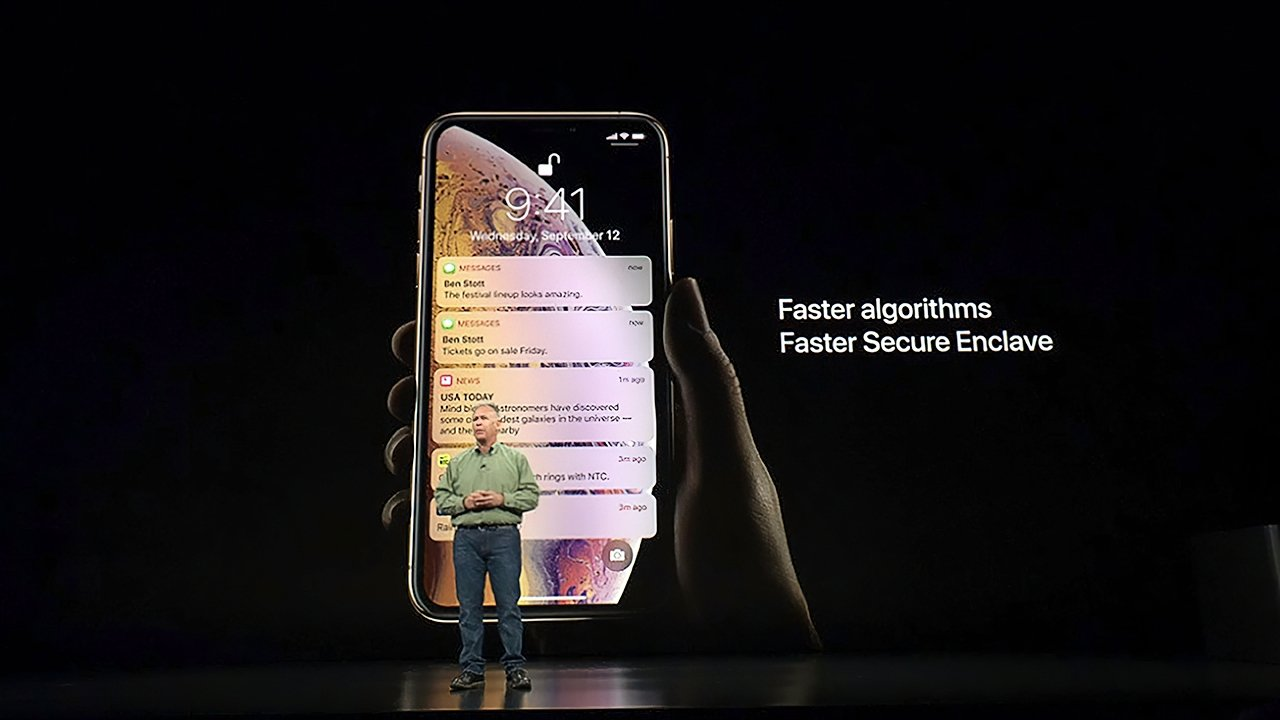 Phil Schiller introducing the A12 Bionic chip powering the iPhone XS