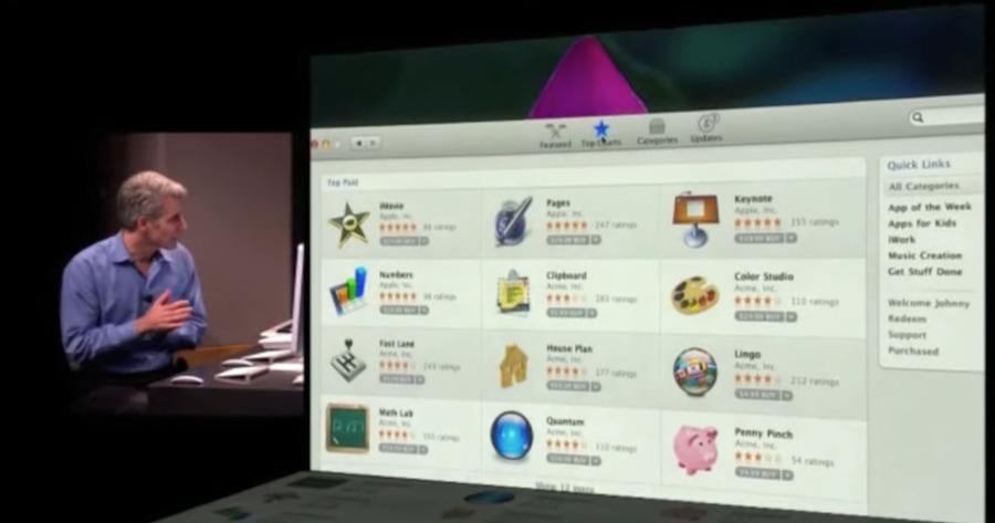 Craig Fedierghi demonstrates the Mac App Store in 2010