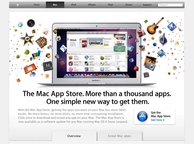 The Mac App Store as originally promoted on Apple.com in 2011